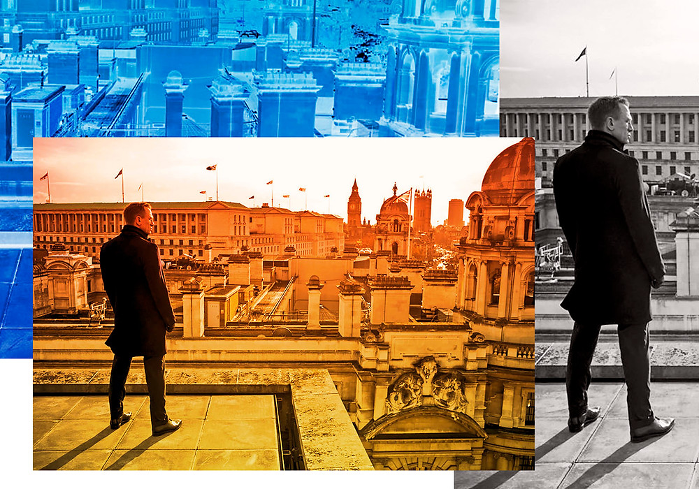 Images of Daniel Craig as James Bond looking over the rooftops of Istanbul in the film 'Skyfall'.
