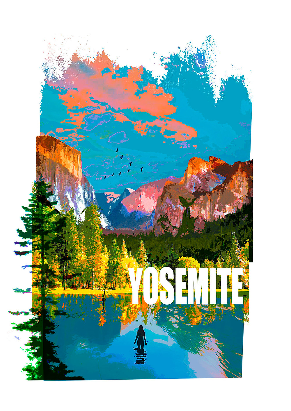 A digital illustrated portrait of Yosemite National Park