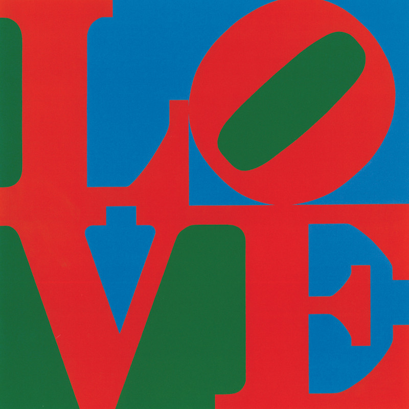 LOVE poster with the letters L, O, V and E in red on a blue and green background