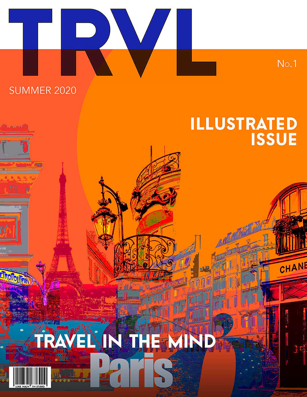 Travel magazine front cover with an abstract illustration of Paris in the evening.