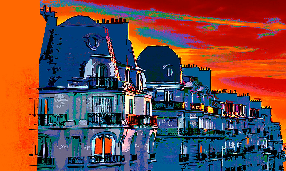An digital illustration of a row of Parisian rooftops against a sunset sky.