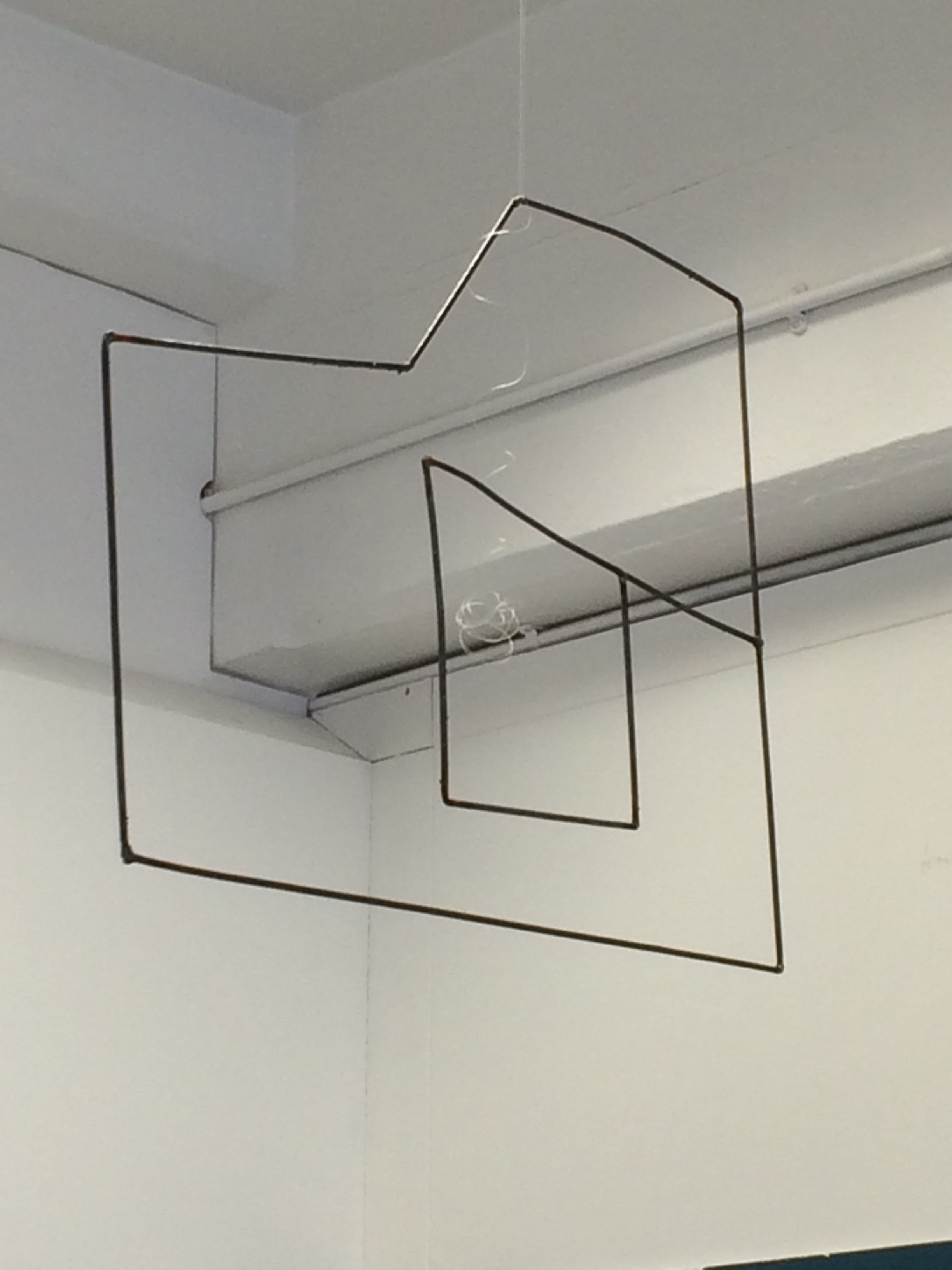 Welded piece hanging unpainted