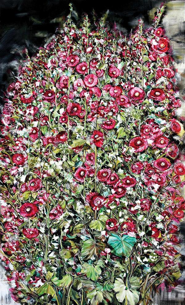 06-접시꽃-Hollyhock-97x162cm-oil-on-canvas-