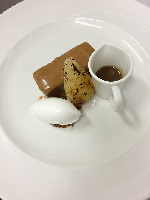 Sticky Toffee Pudding with Poached Pear & Salted Toffee Sauce Serves 4