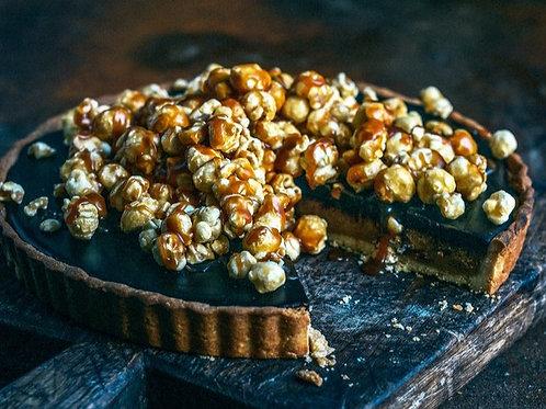 Salted Caramel Popcorn & Chocolate Tart / serves 2