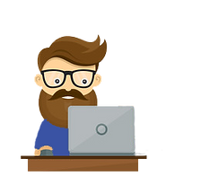 man booking online through computer