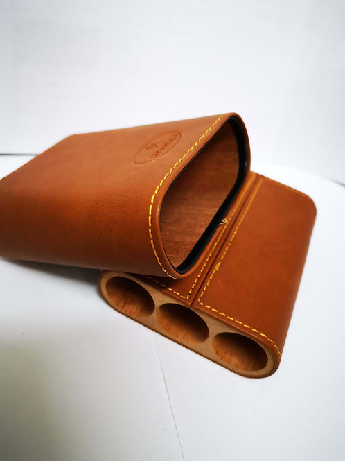 LEATHER CASE 3 Cigars Brown