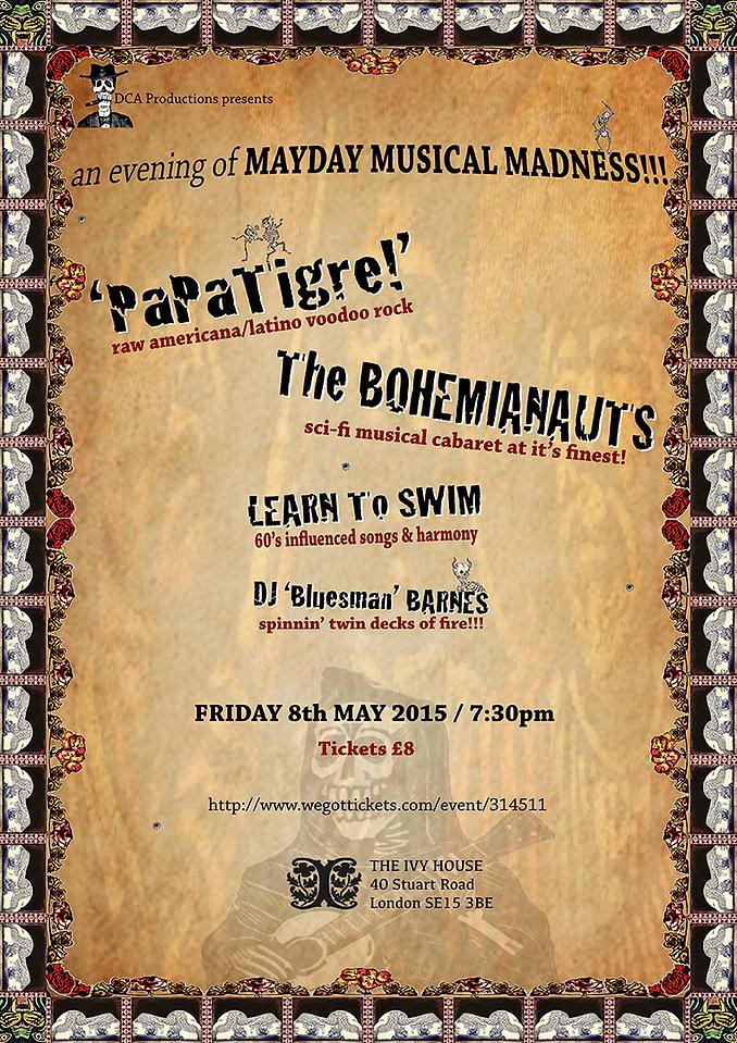 poster image publicising Papa Tigre's Mayday Musical Madness night