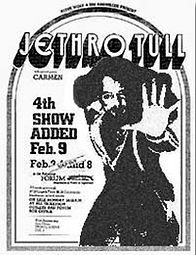 poster of Jethro Tull and CARMEN - the flamenco rock band