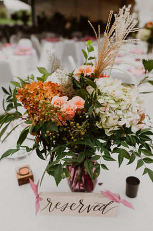 Reserve table decorations