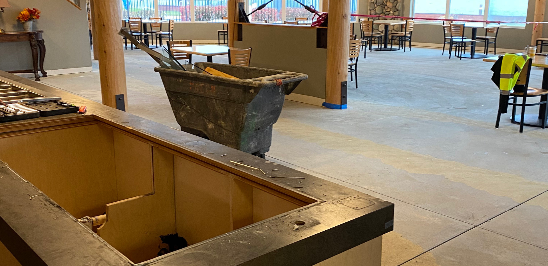 Restaurant renovation bar top