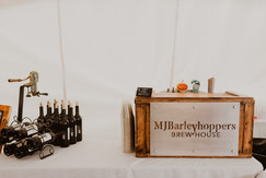 small bar set up for reception
