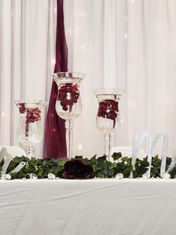 head table at wedding set up