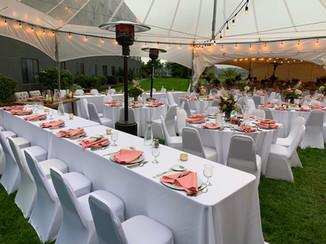 outdoor wedding recption set up under tents