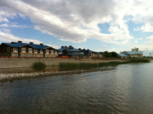 exterior of River Lodge from riverside