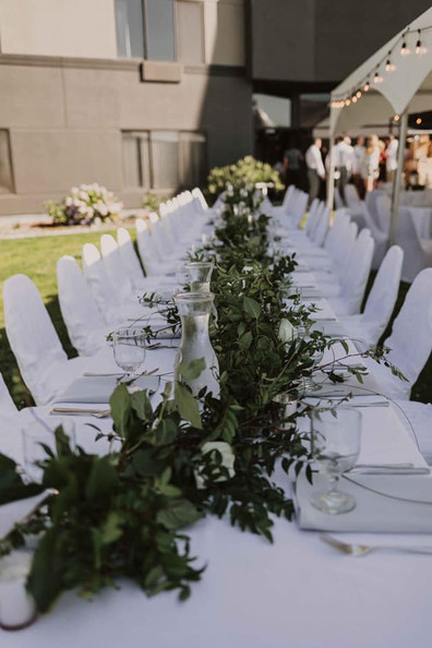 outdoor table setting for wedding reception