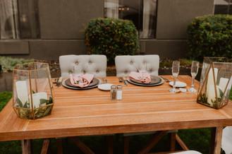 head table at outdoor wedding reception