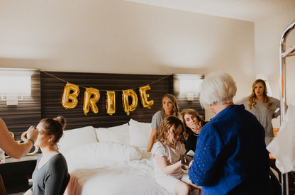 Bridal Party getting ready in guest