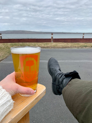 glass of beer out on the patio with Columbia River views