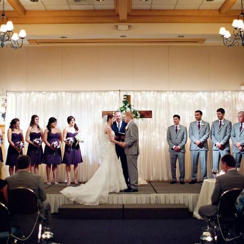 Bride & Groom at Ceremony at Heathman Lodge