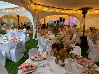 outdoor wedding reception under tents