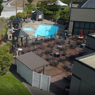 Patio + pool view from above