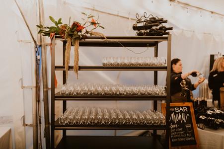 wine dispaly at wedding reception