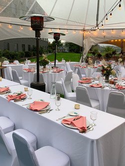 outdoor wedding tent set up