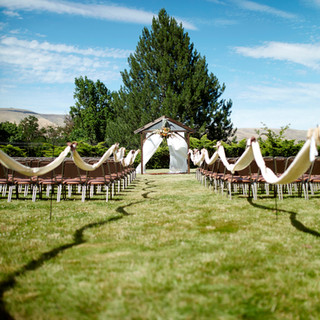 Wedding ceremony set up outdoors
