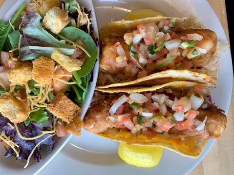 Baja Fish Tacos with a side salad