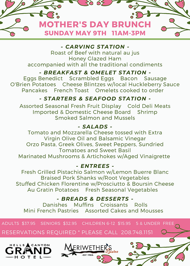 Mother's Day Menu at Meriwether's Bistro