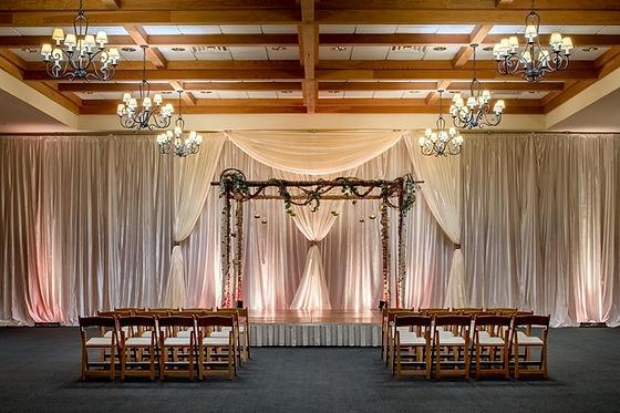 Wedding Ceremony set up in Heathman Lodge Ballroom