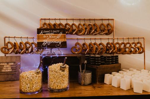 popcorn and pretzle display at wedding reception