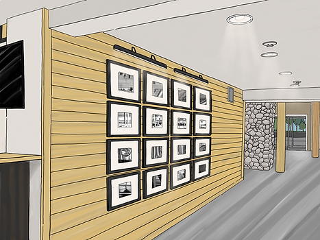 Drawing of renovated entry wall with pictures