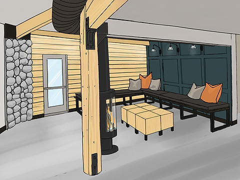 Drawing of casual seating area in restaurant