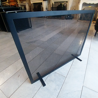 Single panel firescreen in flat black without handles