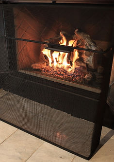 Custom mesh wrap around fireplace screen