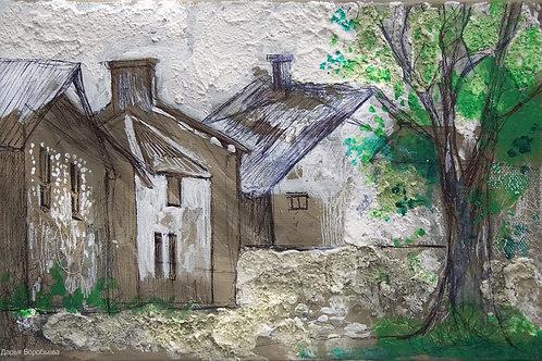 Французская деревня. 20*30, холст