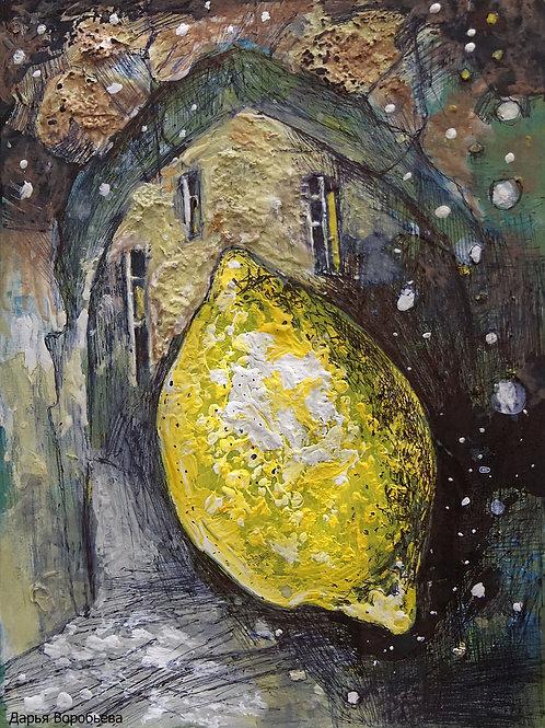 Путешествие лимона. 20*15, холст на картоне