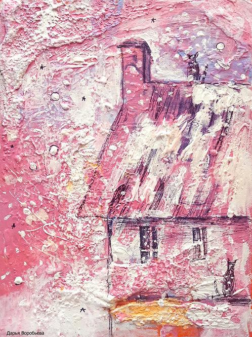 Розовый закат в деревне.  24*18, холст на картоне