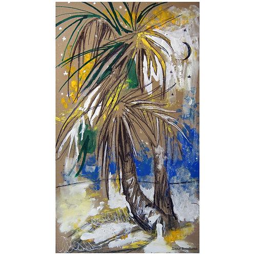 Вечерние пальмы. 24*14, картон