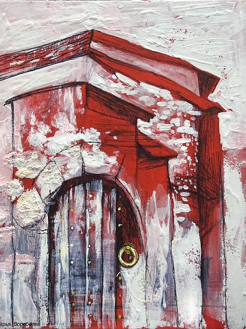 Дверь в Хорватии. 25*20, картон