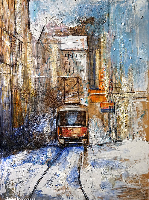 Пражский трамвай. 30*40, картон