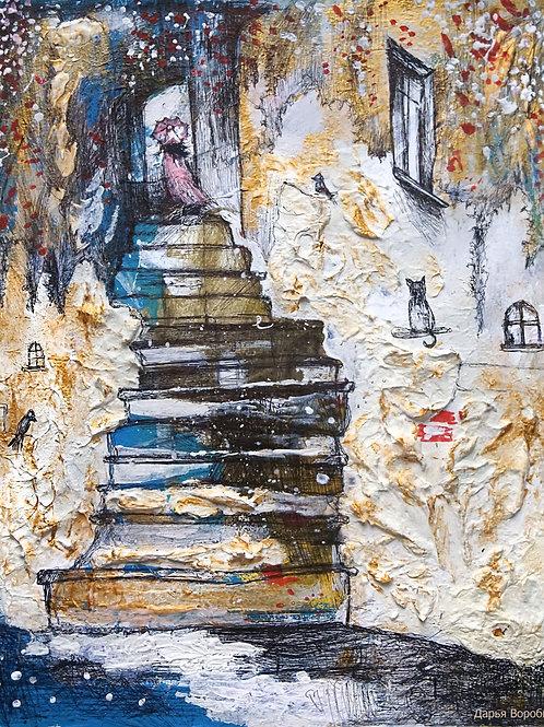 Вечерняя лестница. Вернацца. 30*25, картон