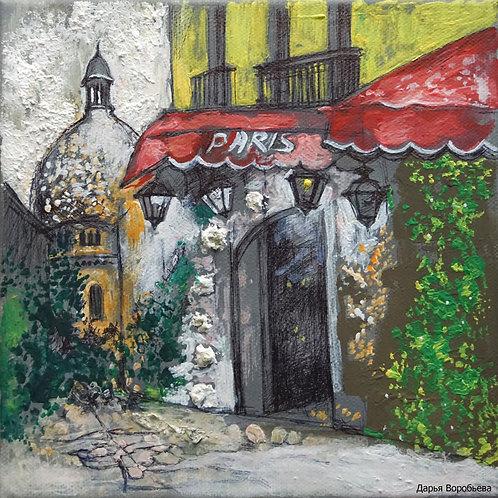 Парижское кафе. 20*20, холст