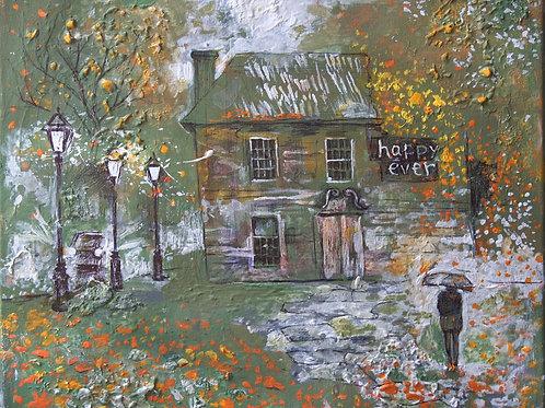 Осенний дом-музей. 25*30, холст