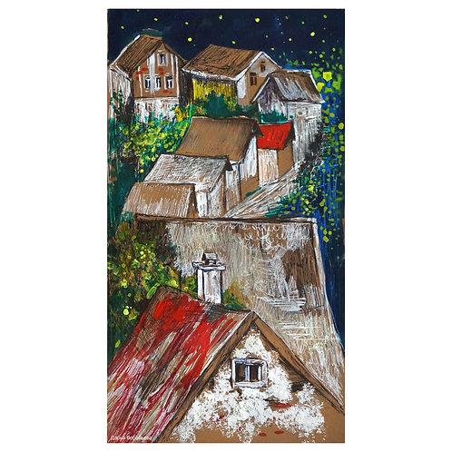 Ночные крыши Швейцарии. 25*13, картон
