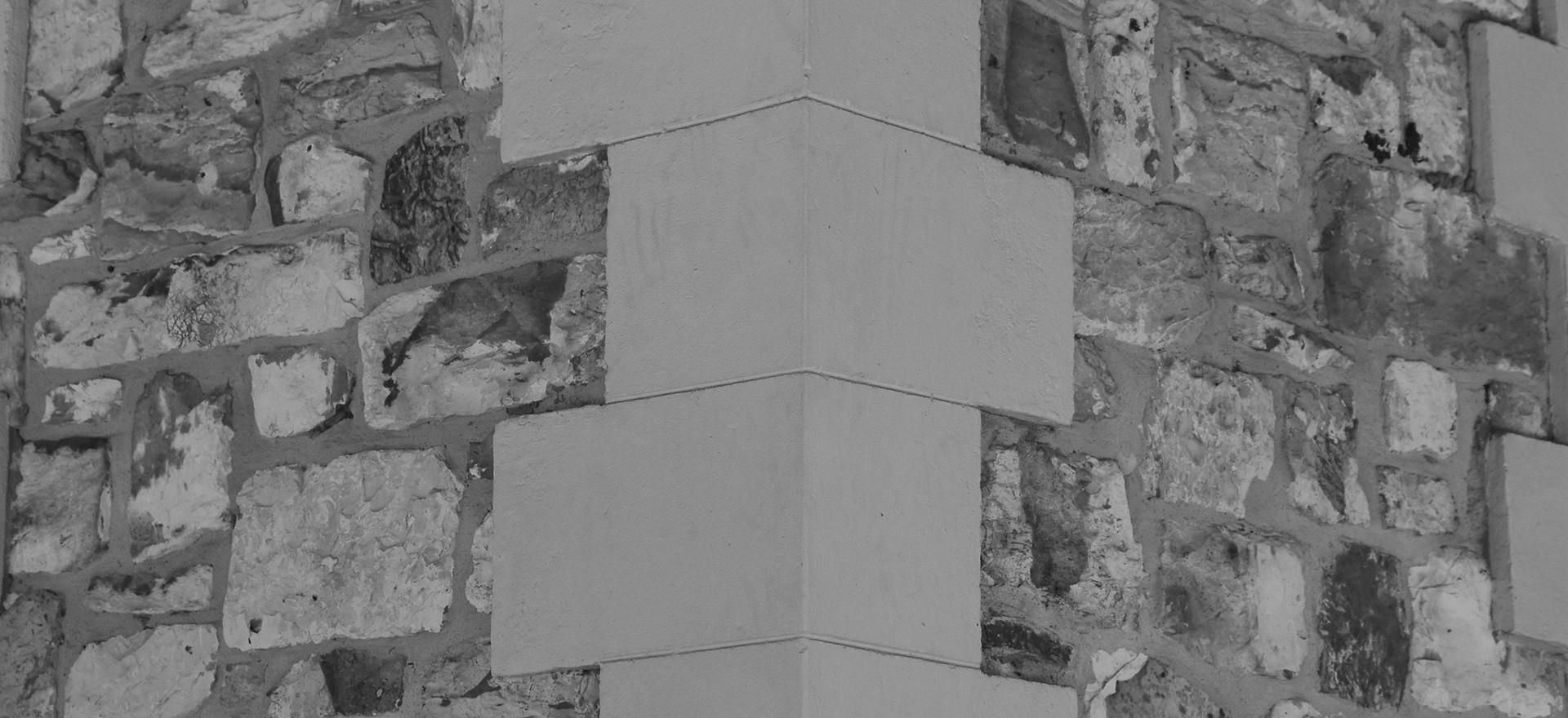 1880s style corner rendering of porcellanite walls, Darwin.