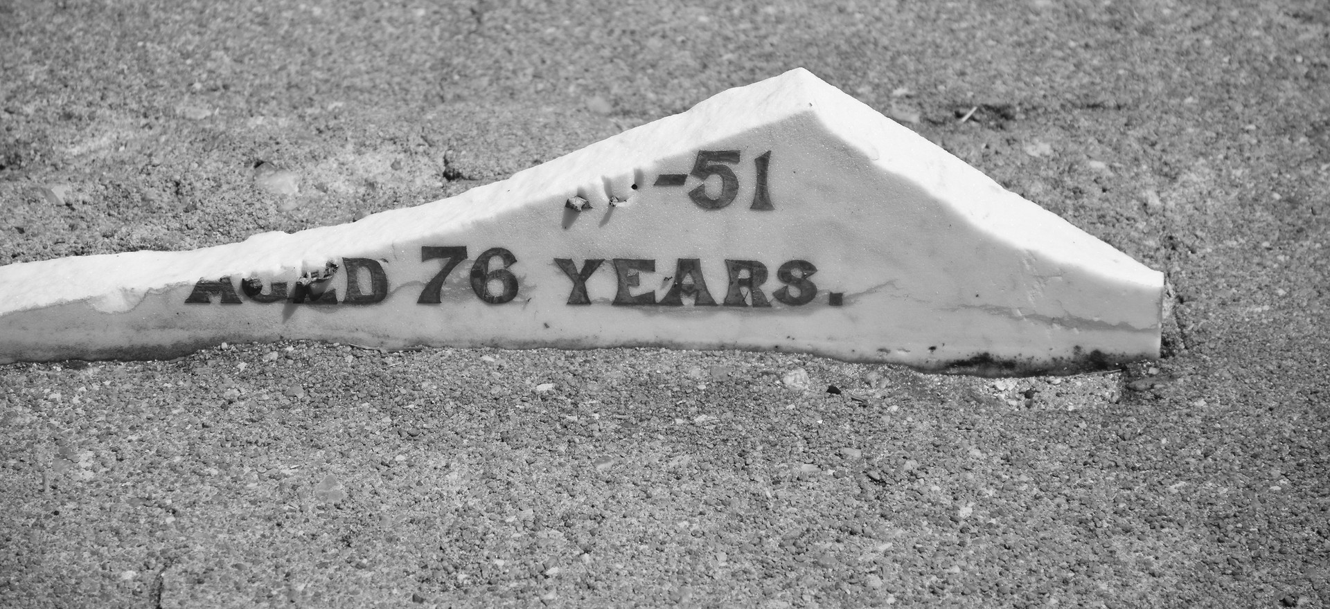 Remnant headstone, Gardens Road Cemetery.