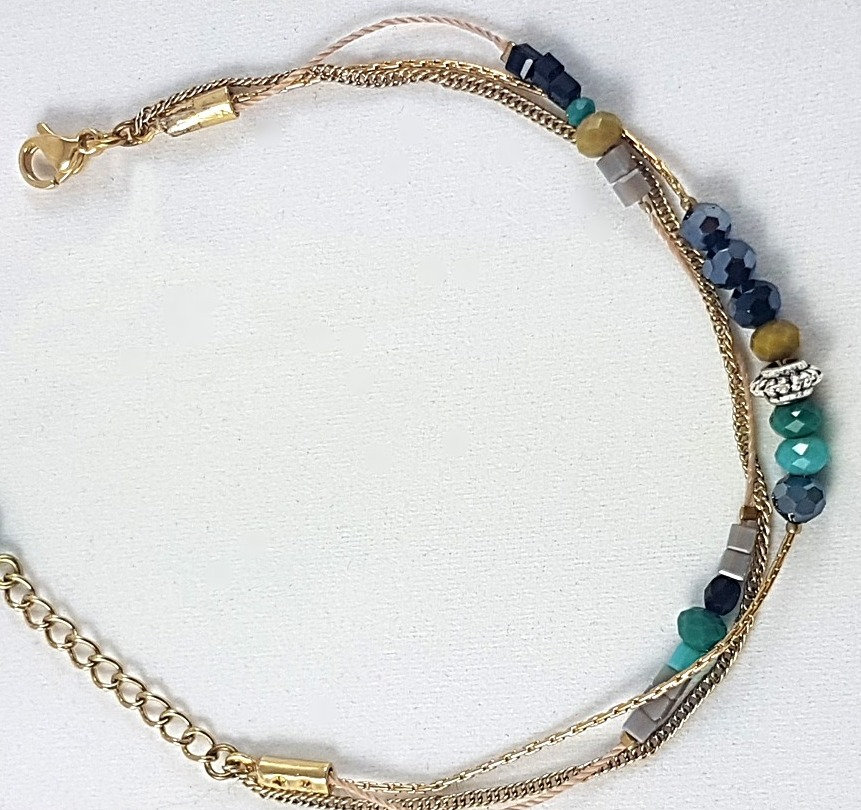Bracelet multi rangs. Canard/marine